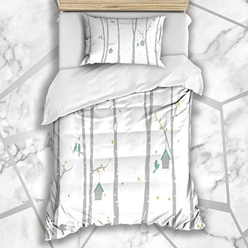 Ahawoso Duvet Cover Sets Twin 68X86 Park Birch Tree Deer Birds Woodland Abstract Aspen Autumn Bark Design Microfiber Bedding with 1 Pillow Shams