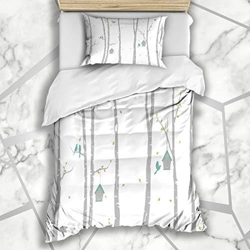 (Ahawoso Duvet Cover Sets Twin 68X86 Park Birch Tree Deer Birds Woodland Abstract Aspen Autumn Bark Design Microfiber Bedding with 1 Pillow Shams)