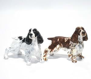 English Springer Spaniel Dog Ceramic Figurine Salt Pepper Shaker 00004 Ceramic Handmade Dog Lover Gift Collectible Home Decor Art and Crafts