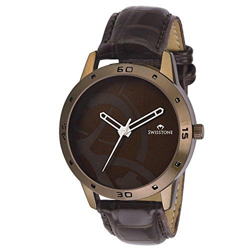 Swisstone BW061 Brown Leather Strap Stylish Wrist Watch for Men