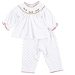 Magnolia Baby Baby Girls Holly Jolly Embroidered Bishop Smocked 2pc Pant Set White 9 Months