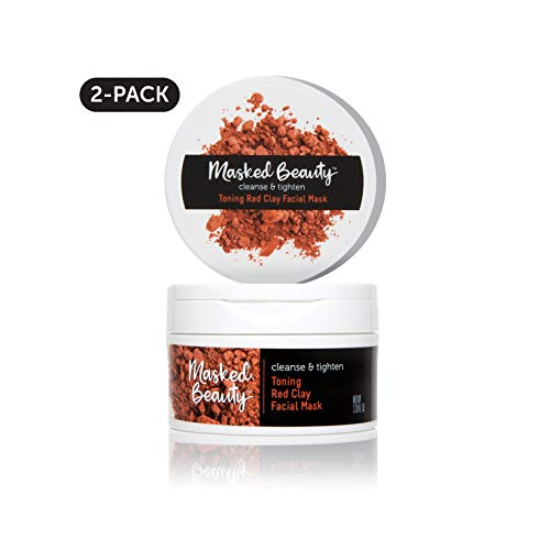 Masked Beauty Toning Red Clay Mask Rinse-Off Clay Facial Mask, 2 Count (Best Toner For Pores In India)