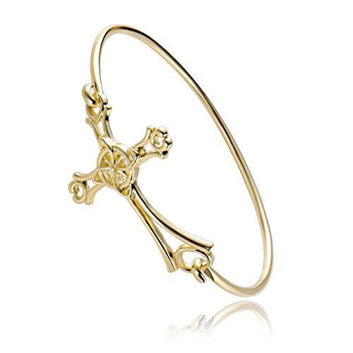 MANZHEN 10K Gold Rose Gold Silver Plated Sideways Cross Wrap Buckle Bangle Bracelet