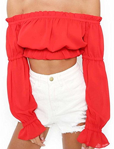 (Women's Ruffle Puff Long Sleeve Tops Blouse Off The Shoulder Casual Shirts Red M)