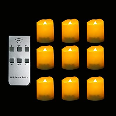 Set of 12 Premium Flameless Battery-operated Waxen Outdoor Votive Light LED Candle / Flickering Light Bulbs, Long Life 120+ Hours CR2450 Battery included,for Christmas,Halloween,Propose wedding