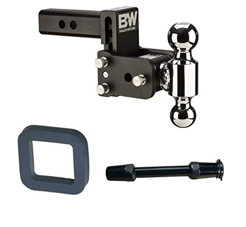 B&W Hitches TS10037B Tow and Stow Magnum 5in Drop 2in Receiver Hitch Ball Mount with 2in Silencer Pad and Premium 5/8in Key Lock with 3.5in Span Bundle