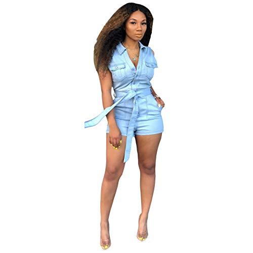 ECHOINE Women's Sexy Denim Jumpsuits Solid Short Sleeve Romper Shorts Clubwear