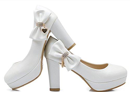 vestido white noche Mujer Tacones carrera Confort y boda Oficina de Primavera PU Verano Chunky Otoño Leatherette Heel Invierno y de Novedad Casual Fiesta YCMDM gHwqg