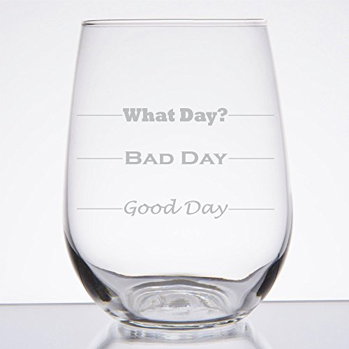 Good Day, Bad Day - Funny 17 oz Stemless Wine Glass, Permanently Etched, Gift for Mom, Co-Worker, Friend, Boss, Christmas - SG10 by Frederick Engraving