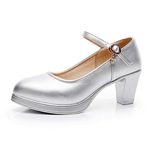 impermeables heels de alto alto solo zapatos 5cm high plata modelo 42 de Zapatos Amarre ranurado con con mujer grueso chica tacón wqwP16