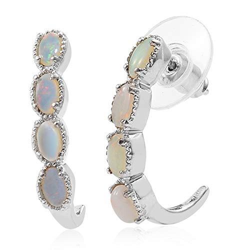 Oval Natural Opal Hoop Fashion Earrings for Women