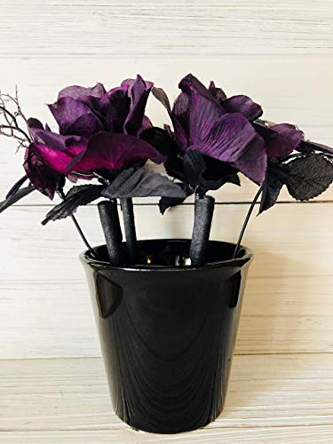 Halloween Spooky Purple Rose Flower Pen Pot ()