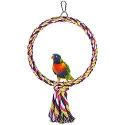 Bird Perch, Rope Bungee Bird Toy (Round)