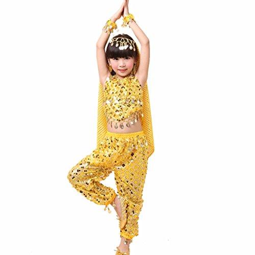 Pilot-trade Kid's Belly Dance Girl Halter Top, Harem Pants, Halloween Costume Set Yellow - Yellow Belly Dancer Costume