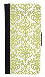 CellPowerCasesTM Damask Green and Silver Bi-fold iPhone 4 Case - Fits iPhone 4 & iPhone 4S