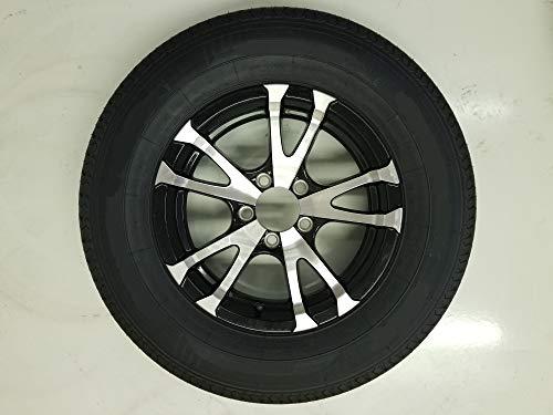 Trailer Tire On Rim ST175/80D13 Load C 5 Lug Aluminum Avalanche V-Black Spoke