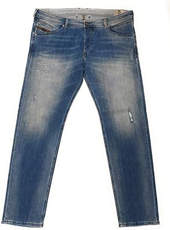 Diesel męskie dżinsy spodnie Belther Regular Slim-Tapered Mens spodnie jeansowe 084GI Stretch W40/L34: Odzież