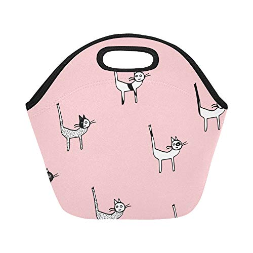 Insulated Neoprene Lunch Bag Cute Warm Heart Docile Animal Pet Cat Large Size Reusable Thermal Thick Lunch Tote Bags Lunch Boxes For Outdoor Work Office School