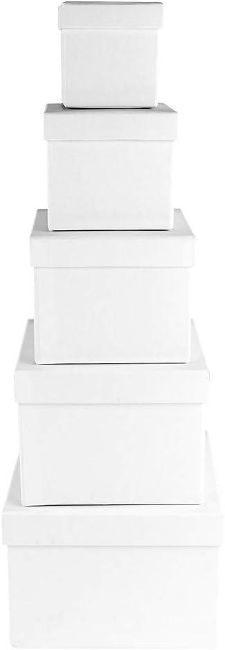 Ideas con corazón cajas de regalo con tapa, 5 cajas de cartón, 5 tamaños diferentes, grandes hasta pequeñas, de cartón estable, ideal para cumpleaños y bodas, cuadrados, de 6 a 14 cm:
