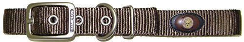 Hamilton Double Thick Nylon Deluxe Dog Collar with Brushed Hardware Finish, 1-Inch by 22-Inch, -