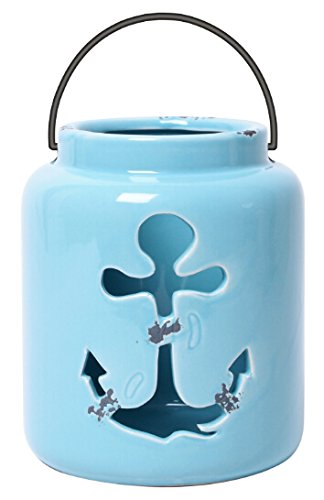 - Hosley Nautical Anchor, Blue Ceramic Holder- 5.5