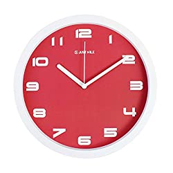 JustNile 10 Inch Decorative Modern Red Non-Ticking Analog Wall Clock