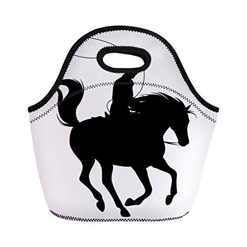 Western Cowboy Clipart - Semtomn Lunch Bags Western Cowboy Throwing Lasso Riding Running Horse Black Silhouette Neoprene Lunch Bag Lunchbox Tote Bag Portable Picnic Bag Cooler Bag