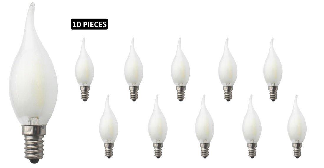 JCKing 10-Pack Regulable AC 220V E14 6W LED Filamento Vintage Bombilla, Bombillas incandescentes de 60W Reemplazo para lá mpara, Blanco frí o Bombillas incandescentes de 60W Reemplazo para lámpara Blanco frío