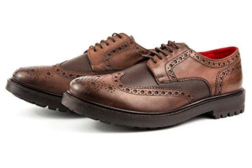Base London - Zapatos de cordones de Piel Lisa para hombre 43 marrón