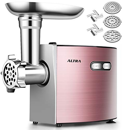 Electric Meat Grinder, ALTRA Stainless Steel Sausage Stuffer Maker & Meat Mincer Machine【2000W Max ETL Approved】 with 3 Grinding Plates, 2 Blades, Sausage & Kubbe Kit, Kitchen Commercial Use,Rose Gold