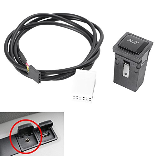 Timmart Car Audio AUX Adapter Switch Line Cable for VW Volkswagen Rabbit Scirocco Golf/GTI/R MK5 MK6 2005-2014