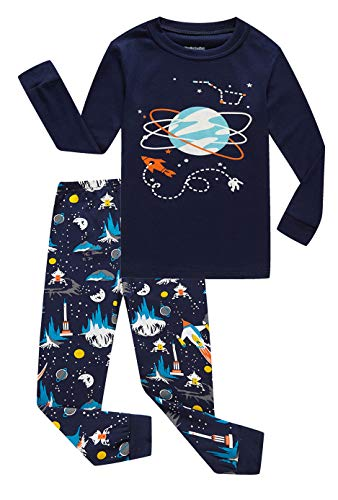 (Family Feeling Space Big Boys Long Sleeve Pajama Sets for Child 100% Cotton Pyjamas Kids Pjs Size 8 Blue )