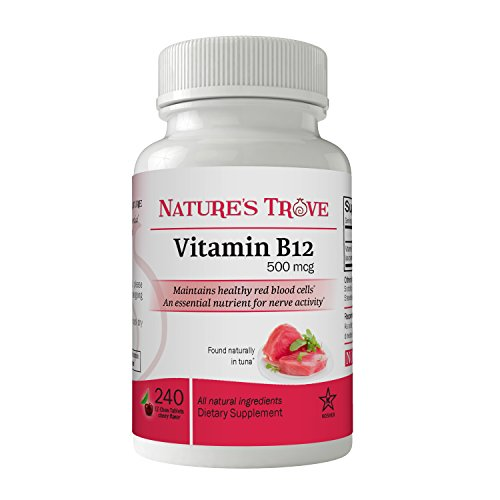 Vitamin B12 500 mcg by Nature's Trove – 240 EZ Chew Tablets Cherry Flavor For Sale