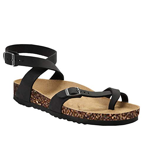 - Qianshan Maomo Women's Summer Sandals Casual Flat Comfortable Buckle Ankle Strap Thong Sandals Black