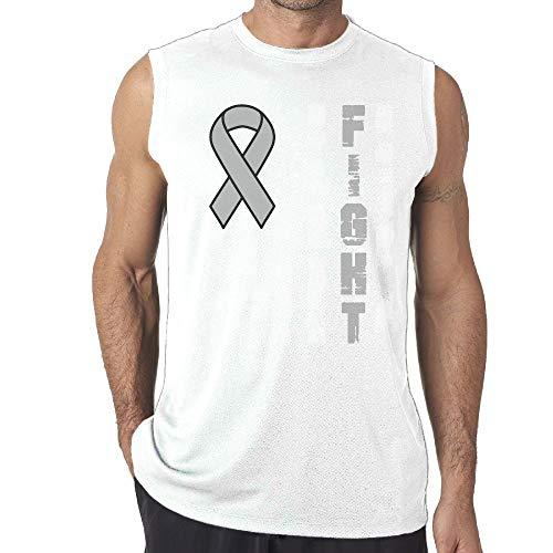 SHENQINGWENEN Men's Grey Brain Cancer Ribbon Yoga Tank Top T-Shirt Muscle Tank Top Shirt