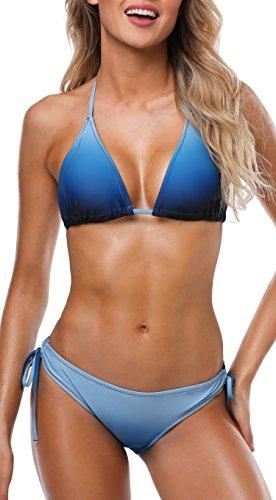 ATTRACO Women's Triangle Halter Bikini Set Tie Side Blue 2 Piece Swimsuit XL -