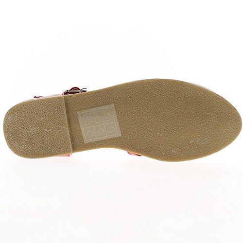 Sandali nero verniciato piccolo tacco 1 cm con flange sottile