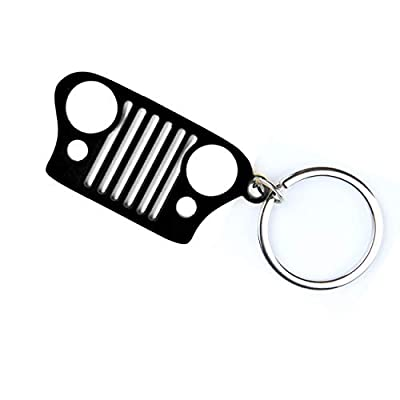 EVAPLUS Car Key Chain Keychain Key Ring for Jeep Wrangler Accessories Enthusiasts-Jeep Front Grill Design and Stainless Steel Material with 4 Colors (Black): Automotive