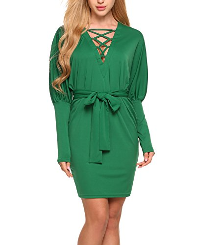 Zeela Women's Lace-up Deep V-Neck Batwing Long Sleeve Solid Belted Bodycon Pencil Short Dress