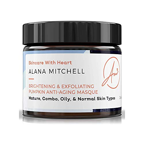 Brightening Pumpkin Enzyme Face Mask With Glycolic Acid, Lactic & Citric Acid - Instant Gel Exfoliating Mask For Anti Aging, Lighter, Younger, Refreshed Neck & Facial Area By Alana Mitchell Skin Care ()