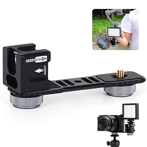 USKEYVISION Microphone Extension Mount Bar ,4 Cold Shoe Microphone and Video Light Mount Compatible for DJI Osmo Mobile4/3/2,hohem isteady Mobile,zhiyun Smooth4 ,Feiyu Gimbal
