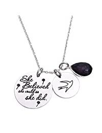 She Believed She Could So She Did Pendant Necklace Birthstone Motivation Jewelry New Job Graduation Gift Inspiration Life Quote