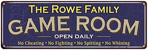 Rowe 4 Hole Kitchen - The Rowe Family Game Room Blue Vintage Look Metal 6x18 Sign Family Name Old Advertising Man Cave Game Room M6187211