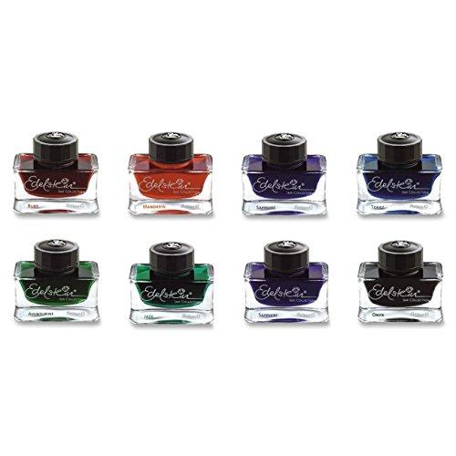 (Pelikan Edelstein Bottled Ink Set for Fountain Pen, Aventurine Green/Blue Topaz, 50ml Each, 8 Bottles (670802) )