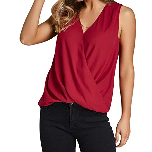 Miuye Summer Shirts for Women Solid Cross V Neck Criss Cross Tops Blouse Elegant Tank Tops Off Shoulder Top Wine