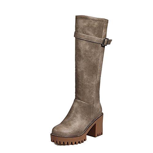 AgooLar Damen Hoher Absatz Weiches Material Hoch-Spitze Rein Reißverschluss Stiefel Grau