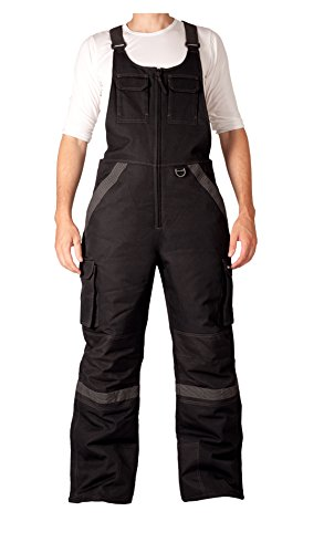 Arctix Men's Tundra Ballistic Bib Overalls with Added Visibility, Black, Large