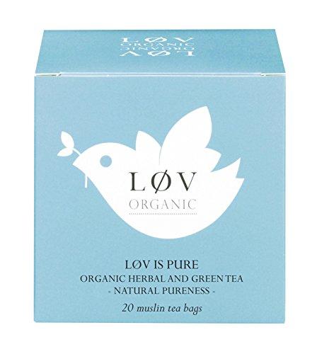 Løv Organic Løv is Pure Green Tea - Apple, Nettle, Yerba Mate, Grapefruit, and Lemon Organic Infusion Feel Peaceful and Refreshed (20 Muslin Tea Bags 20 Servings)