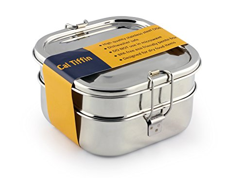 Cal Tiffin Stainless Steel SQUARE Bento Box food container 40 oz, 3-compartment - Eco friendly, Dishwasher safe, BPA free