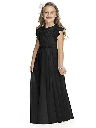 Abaowedding Fancy Chiffon Flower Girl Dresses Flutter Sleeves First Communion Dress(Size 12,Black)]()
